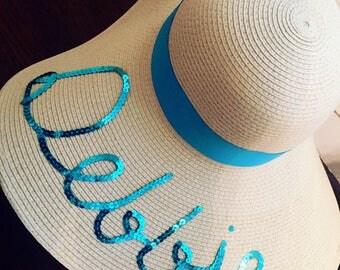 Wide Brim Natural Color Floppy Beach|Sun Hat with Ribbon Trim