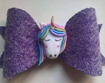 Nana Ola unicorn flatback harris tweed purple bow fimo original design