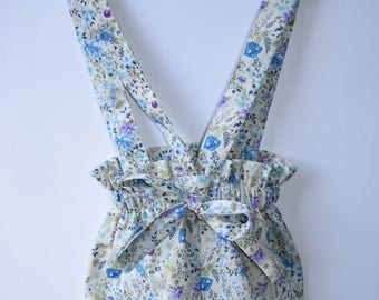 Blue Vintage Floral Ruffle Waist Baby Bloomers with Straps / Romper!