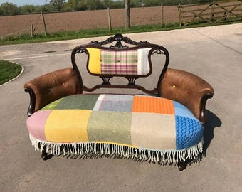Antique Reupholstered Quirky Settee Sofa