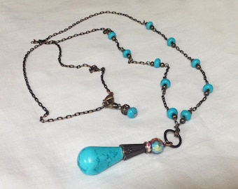 Turquoise Howlite Necklace and Earrings Set  FREE SHIPPING!