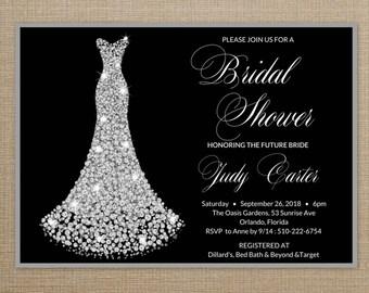 Bridal Shower Invitation Wedding Dress, Bridal Shower Invitation Dress, Bridal Shower Invites, Wedding Dress Bridal Shower Invite