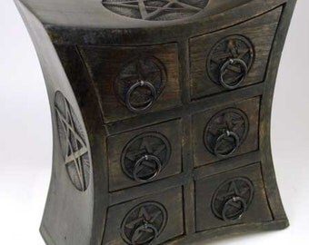 6 Drawer Pentagram Herb Cupboard Wood Apothecary Chest Wicca Pagan Altar Storage Free Domestic Shipping!