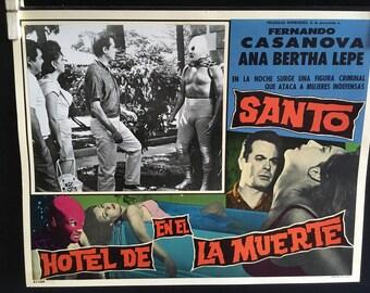 Set of 2 Lobby Cards Santo En el Hotel de la Muerte  (1963) Director Federico Curiel