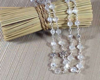 Sparkling Crystal Clear Glass Wire Wrapped Necklace