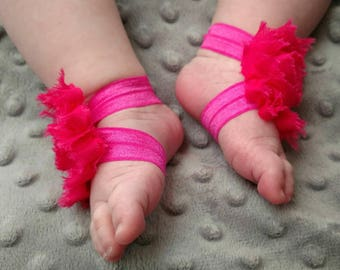 Pink Barefoot Baby Sandals