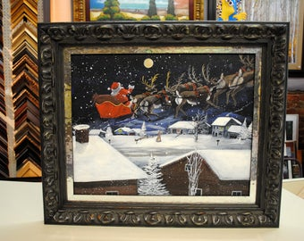 Original art, Santa Claus reindeer, Kathy Chism