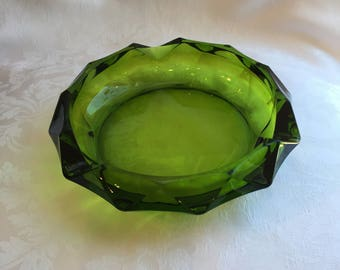 Vintage green glass cigar ashtray