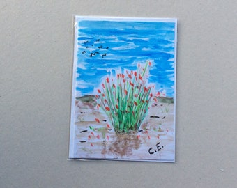 A Spot of Colour - Hand Painted Original - Art on a Card -Greeting card