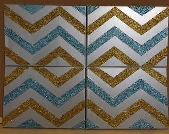 Glitter Chevron Canvas Set