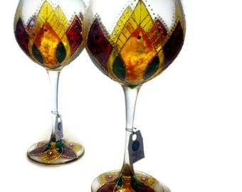 vitrage wine glasses,patrik's day gift ,romantique  giftWine glasses,painted wineglass, gift wine set of 2 glass,personalized wineglass