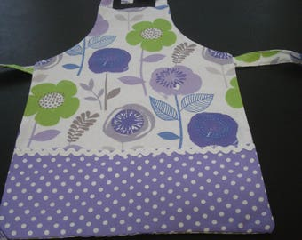 Little Girl's Apron Purple and Green Prints