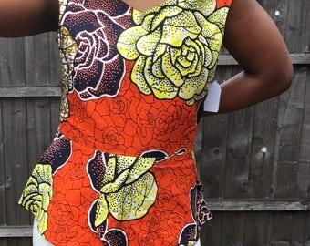 Ankara Top, African Print, Summer Top, Off Shoulder Top, Peplum Top, Dashiki Floral Print Top