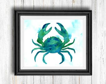 Watercolor Blue and Green Crab - Digital Download