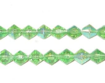 6mm Bi-cone Light Green AB Finish Fire Polish Glass Bead