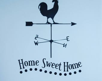 Home sweet home, rooster, weather vane, wall art print, home decor, to be framed.