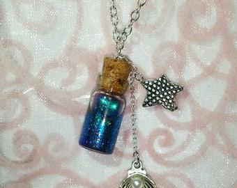 Mermaid Tears Bottle Charm Necklace