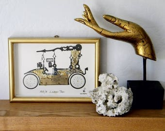 Vintage Watch Parts Art Collage from 1970s London Taxi 1914/18, Signed, Framed Made in England
