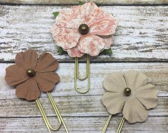 Autumn paper flowers paperclip set | Planner Accessories | Bible Journaling | Paper Clip | Bible Bookmark