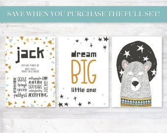 Kids Name Meaning, Black and White Sleepy Bear Illustration Name Sake, Stars and Triangles, Personalized Digital Printable Set