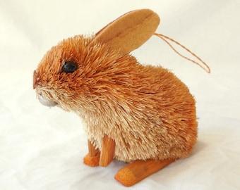 Vintage Wood Bunny Rabbit Figurine Statuette Fuzzy Spiky Fur Mirror Hanger