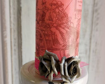 Pink decor candle carriage 19th spirit