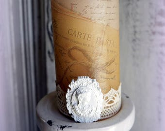 Candle decorated with antique lettering and pink