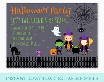 Halloween Party Invitation, Editable Invitation, Printable Halloween, Halloween Printable, Halloween Party Printable, Instant Download, H01