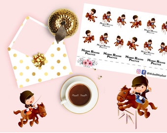 Horseback Riding Lesson Planner Sticker, Children Activity Lesson Reminder Stickers, Horse Sticker, Boy Sticker, Planner Accessory