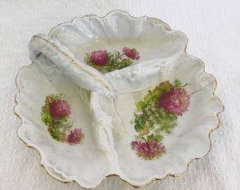 Vintage Pink and Gold Floral Tidbit Dish