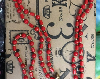 Vintage red headed necklace