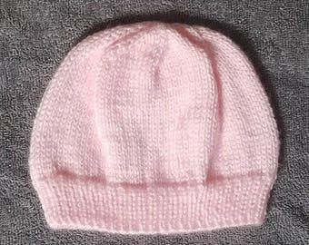 Pretty pink knit baby beanie