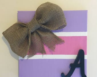 Canvas art with burlap bow