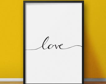 Love Calligraphy Sign, Calligraphy Print, Hand Made Calligraphy Drawing, Love Print, Love Poster, Hand Calligraphy Printable, Digital Print