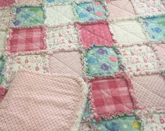 baby quilt, rag quilt, baby blanket, new, with burp cloth and bib