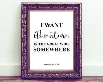 Beauty and the beast, adventure, A4 print, Monochrome, Home Decor, Quotes