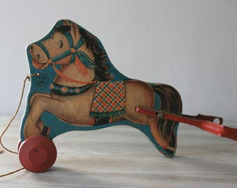 N.N. Hill Brass Co Horse Pull Toy / Vintage Wooden Pull Toy / Antique Toy Horse
