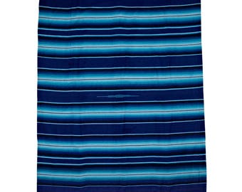 Valerie.co - Traditional Mexican Blanket - Blue