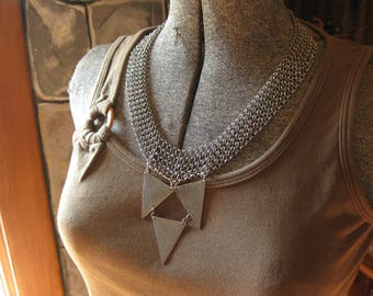 Chain Maille Statement Necklace.