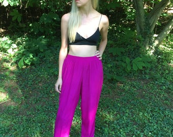 Vintage 90s Magenta Lightweight Polyester Pants with Pockets