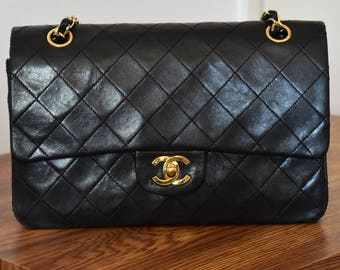 Chanel Vintage Black Quilted Lambskin Leather Classic Medium Double Flap Bag