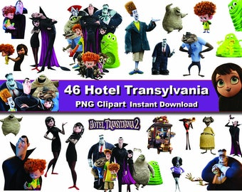 46x Hotel Transylvania Cartoon Clipart PNG printable Digital Graphic Instant Download