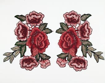 1 Pair Embroidery Flower Patch,Flower Embroidered Patch,Flower with Branch Patch,Iron on Patch,Sew on Patch, Collar Appliques,Embellishment