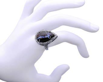 Diamond Boulder Opal Ring