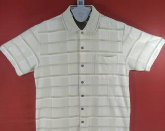 Vintage Pierucci Shirt Stripe Pattern Shirt Beige Colour Size M Italy Designer Comme des Garcon Issey Miyake Shirt YSL Dior Shirt