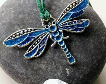 Dragonfly pendant, turquoise blue necklace, Resin jewellery, gift for her,
