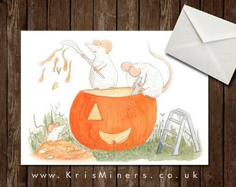 Whimsical Halloween Greetings Card - Carving the Jack O'-Lantern