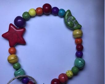 Rainbow beaded moon and star bracelet