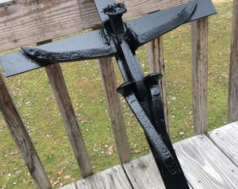 Crucifix made from reclaimed railroad spikes and flat iron