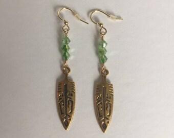 Light Green Swarovski Crystal Tribal Dangle Earrings